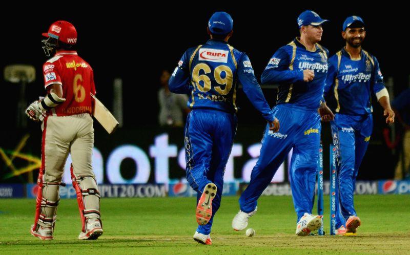 Rajasthan Royals celebrate fall of Wriddhiman Saha's wicket during an IPL-2015 match between Rajasthan Royals and Kings XI Punjab at Maharashtra Cricket Association Stadium, in Pune, on April ...