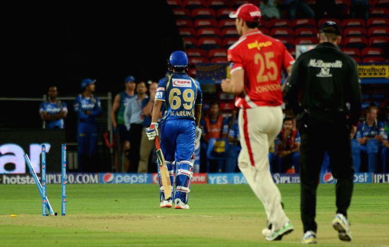 Rajasthan Royals player Karun Nair walks back to the pavilion after getting dismissed  during an IPL-2015 match between Rajasthan Royals and Kings XI Punjab at Maharashtra Cricket Association ...