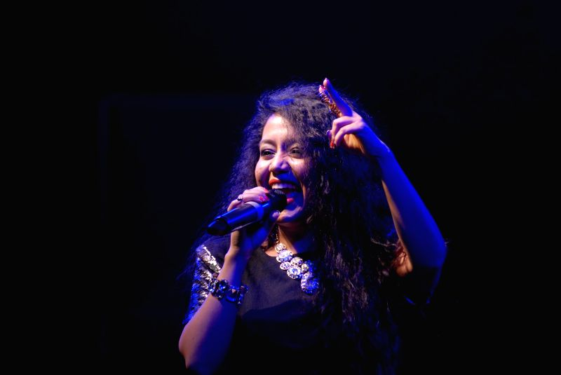 Singer Neha Kakkar performing at a college festival in Pune Feb.1, 2015.