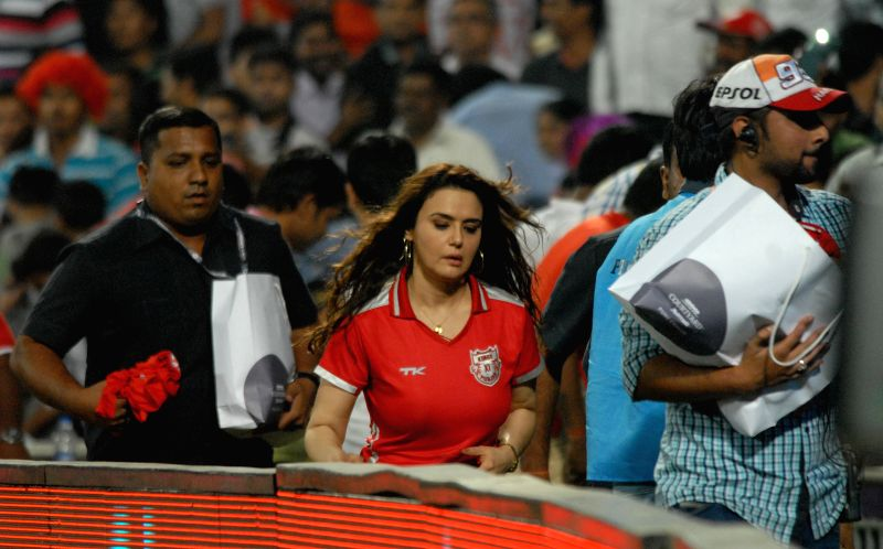 The co-owner of Kings XI Punjab actress Preity Zinta during an IPL-2015 match between Delhi Daredevils and Kings XI Punjab at Maharashtra Cricket Association Stadium, in Pune, on April 15, ... - Preity Zinta