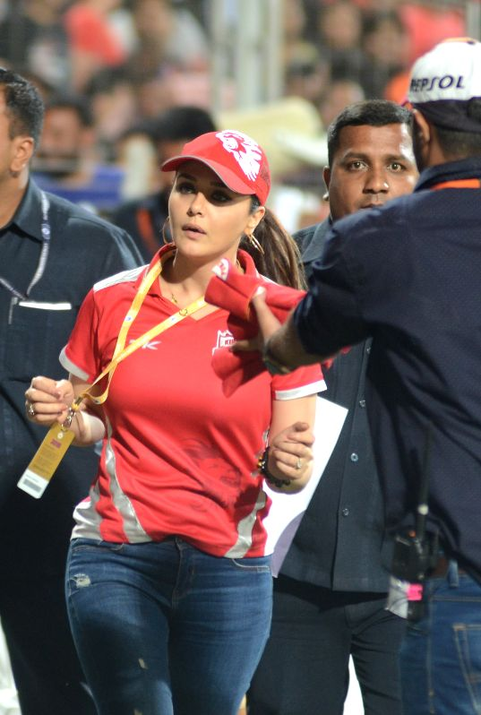 The co-owner of Kings XI Punjab actress Preity Zinta during an IPL-2015 match between Kolkata Knight Riders and Kings XI Punjab at Maharashtra Cricket Association Stadium, in Pune, on April 18, ... - Preity Zinta