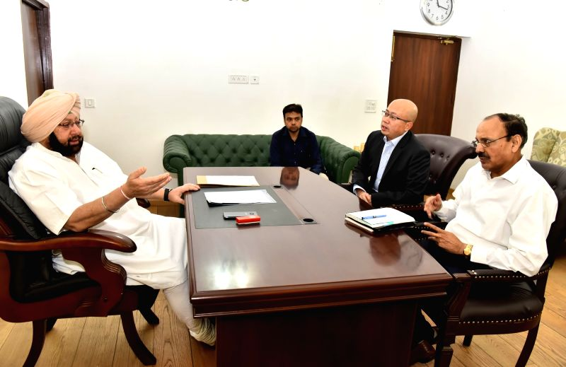 Punjab Chief Minister Captain Amarinder Singh during a meeting with Vistara CEO Phee Teik Yeoh at his residence in Chandigarh on April 25, 2017. - Captain Amarinder Singh