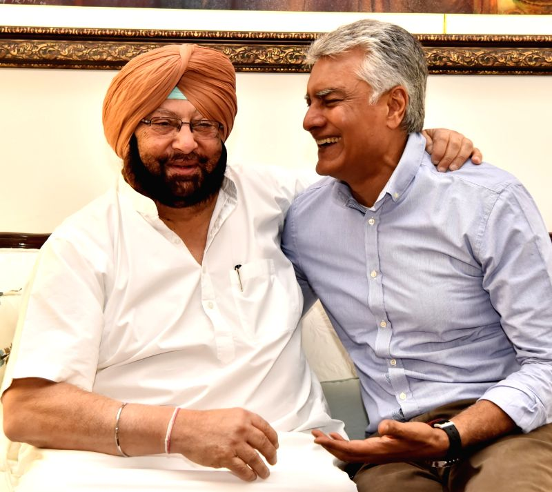 Punjab Chief Minister Captain Amarinder Singh with newly appointed Punjab Congress chief Sunil Jakhar at his residence in Chandigarh on May 4, 2017. - Captain Amarinder Singh