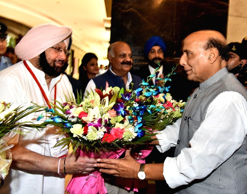 Punjab Chief Minister Captain Amarinder Singh greets Union Home Minister Rajnath Singh during Northern Zonal Council (NZC) meeting in Chandigarh on May 12, 2017. - Captain Amarinder Singh and Rajnath Singh
