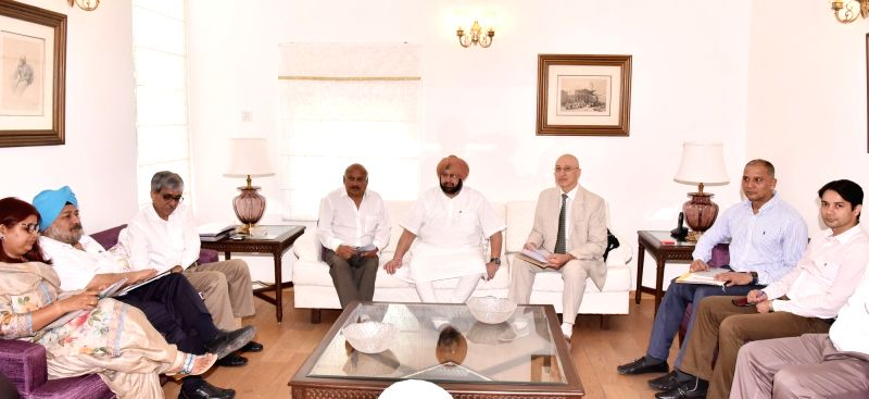 Punjab Chief Minister Captain Amarinder Singh during a meeting with representative of UNODC Sergey Kapinos in Chandigarh on May 31, 2017. - Captain Amarinder Singh