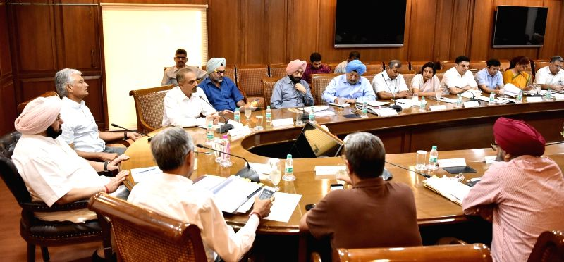 Punjab Chief Minister Captain Amarinder Singh during a meeting with officials at Punjab Bhawan in Chandigarh on June 1, 2017. - Captain Amarinder Singh