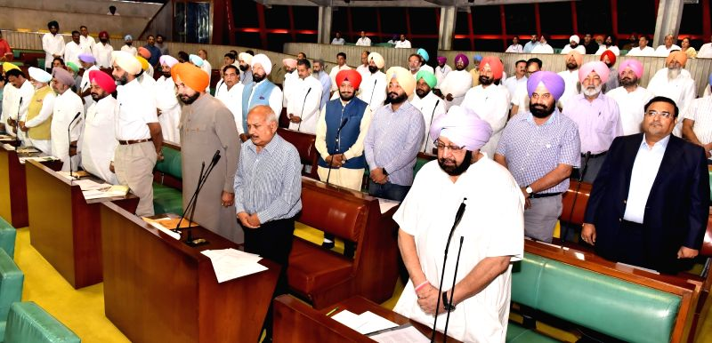 Punjab Chief Minister Captain Amarinder Singh with state assembly legislators at Vidhan Sabha in Chandigarh on June 14, 2017. - Captain Amarinder Singh