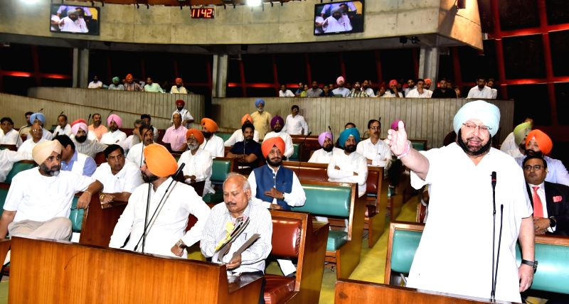 Punjab Chief Minister Captain Amarinder Singh addresses during the third day of Budget Session at Vidhan Sabha in Chandigarh on June 16, 2017. - Captain Amarinder Singh