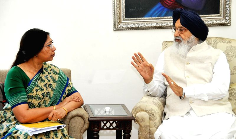 Punjab Chief Minister Parkash Singh Badal during a meeting with Union Social Justice and Empowerment Ministry, Joint Secretary Ghaza Meenai in Chandigarh on July 7, 2014.
