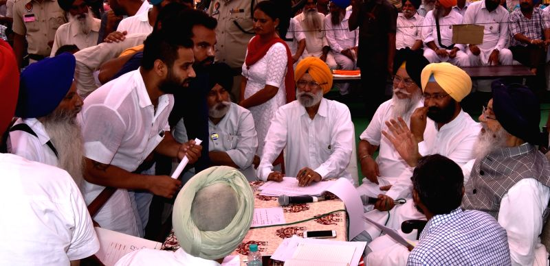 Punjab Chief Minister Parkash Singh Badal during Sangat Darshan in Sangrur district of Punjab on July 20, 2016. - Parkash Singh Badal
