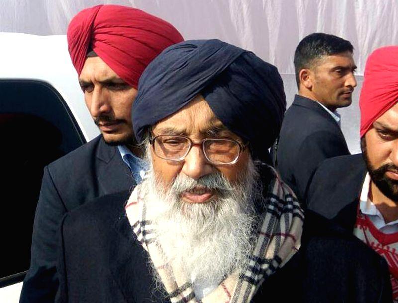 Punjab Chief Minister Parkash Singh Badal talks to press at  Lambi, in Muktsar district of Punjab on Jan 11, 2016. - Parkash Singh Badal