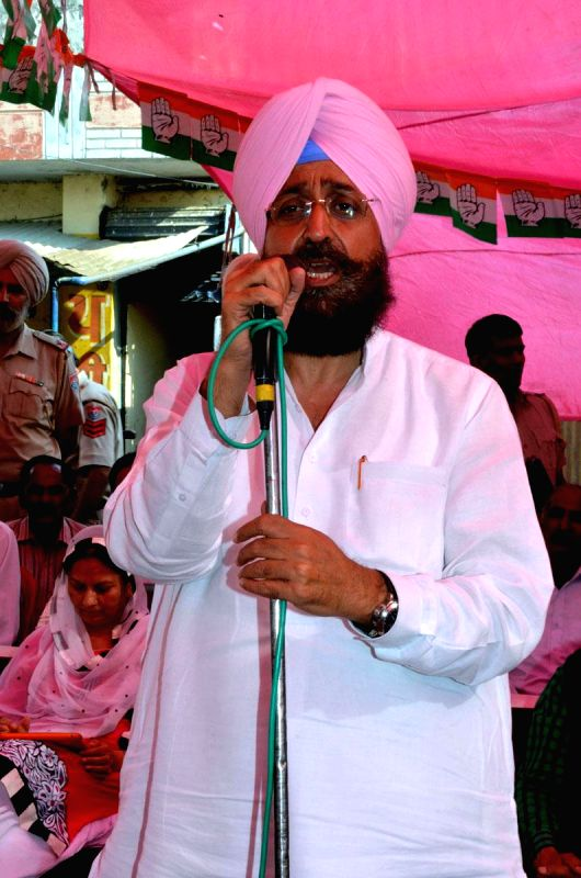 Punjab Congress chief and and party's candidate for 2014 Lok Sabha Election from Gurdaspur, Partap Singh Bajwa during an election campaign in Gurdaspur of Punjab on April 16, 2014.