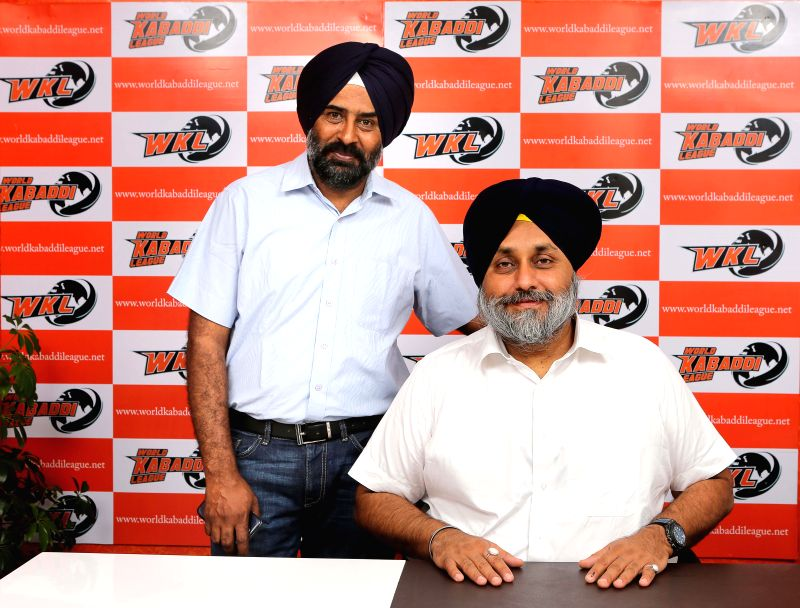Punjab Deputy Chief Minister and World Kabaddi League president Sukhbir Singh Badal and World Kabaddi League commissioner Pargat Singh during launch of League's official website in New Delhi on May .. - Sukhbir Singh Badal and Pargat Singh