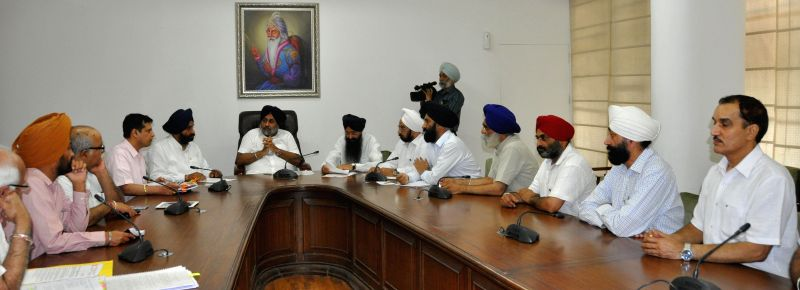 Punjab Deputy Chief Minister Sukhbir Singh Badal during a meeting with a delegation of Chamber of Industrial and Commercial Understandings (CICU) in Chandigarh on July 8, 2014.
