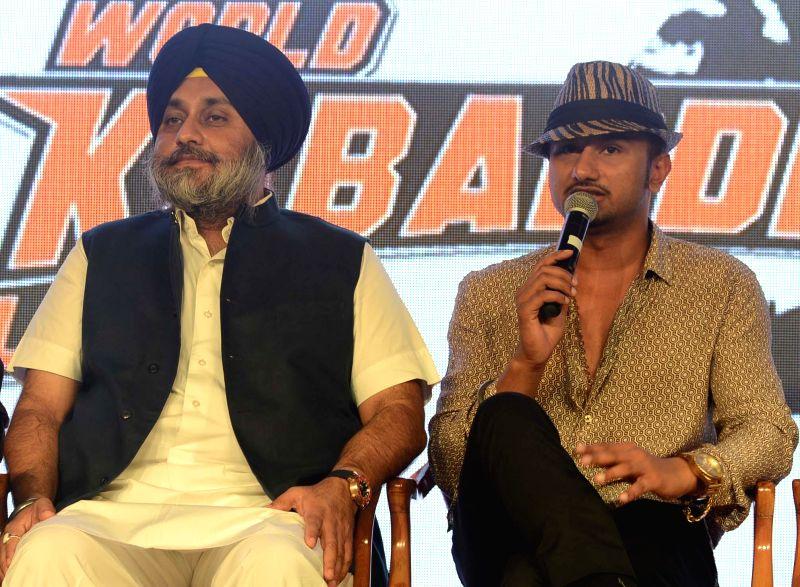 Punjab Deputy Chief Minister Sukhbir Singh Badal and pop singer Yo Yo Honey Singh at the announces of `World Kabaddi League` in New Delhi on July 24, 2014. - Sukhbir Singh Badal