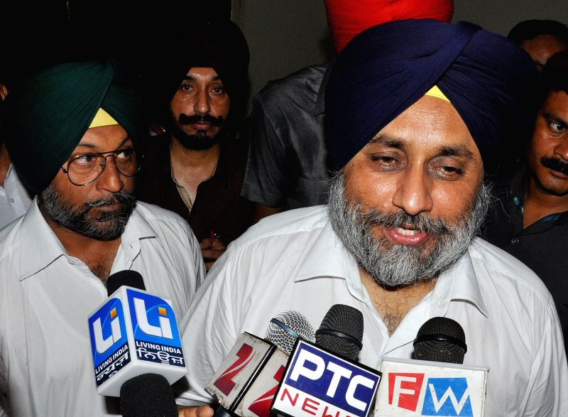 Punjab Deputy Chief Minister Sukhbir Singh Badal talks to media during a rally at Talwandi Sabo in Bhatinda of Punjab on Aug 7, 2014.