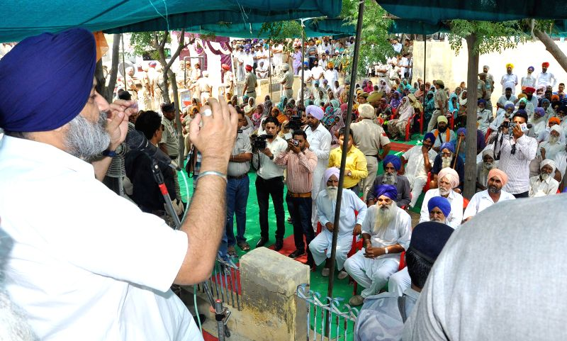 Punjab Deputy Chief Minister Sukhbir Singh Badal addresses a rally at Talwandi Sabo in Bhatinda of Punjab on Aug 7, 2014.