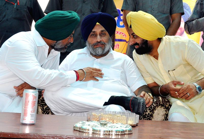 Punjab Deputy Chief Minister Sukhbir Singh Badal during a rally at Talwandi Sabo in Bhatinda of Punjab on Aug 7, 2014.