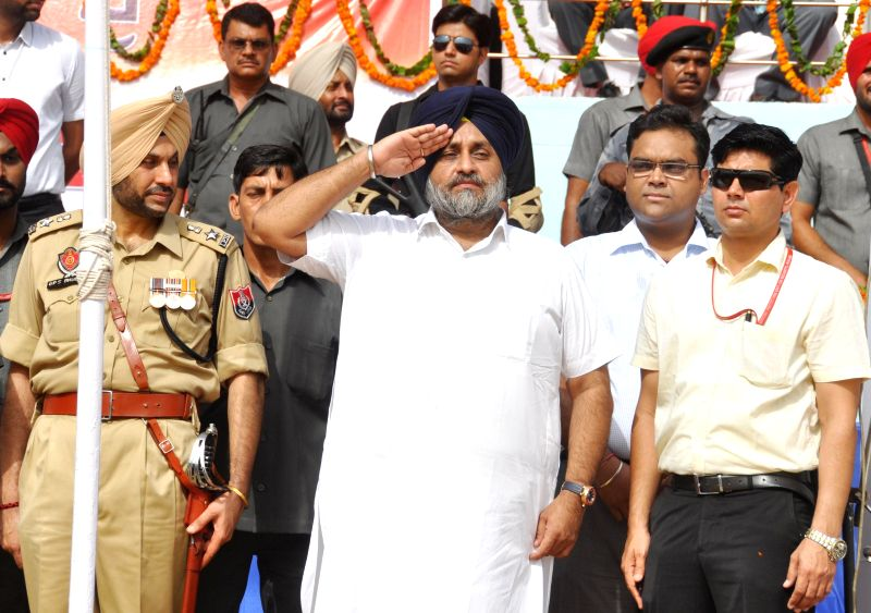 Punjab Deputy Chief Minister Sukhbir Singh Badal during Independence Day celebrations at Multi-purpose Sports Stadium in Bhatinda on Aug 15, 2014.