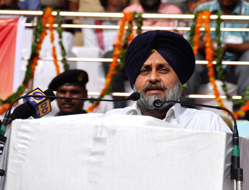 Punjab Deputy Chief Minister Sukhbir Singh Badal addresses during Independence Day celebrations at Multi-purpose Sports Stadium in Bhatinda on Aug 15, 2014.