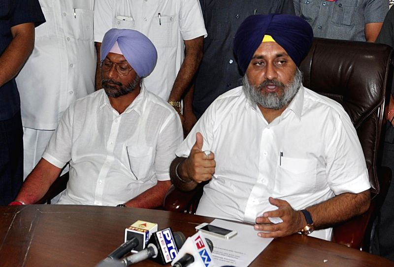 Punjab Deputy Chief Minister Sukhbir Singh Badal during a press meet in Chandigarh on Aug 26, 2014. - Sukhbir Singh Badal