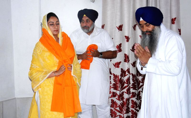 Punjab Deputy Chief Minister Sukhbir Singh Badal and his wife and Union Food Processing Minister Harsimrat Kaur Badal pay obeisance at the Golden Temple in Amritsar, on April 15, 2015.