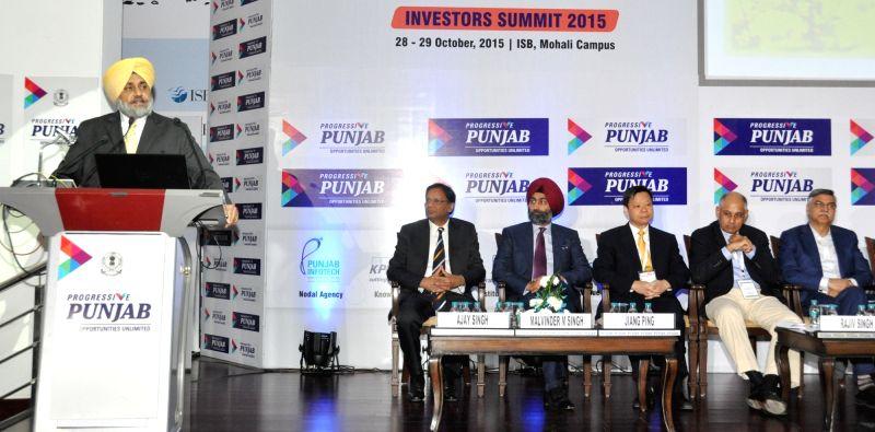 Punjab Deputy Chief Minister Sukhbir Singh Badal addresses during Progressive Punjab Summit in Mohali on Oct 28, 2015. - Sukhbir Singh Badal