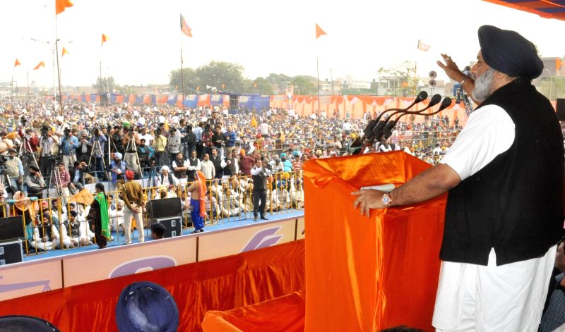 Punjab Deputy Chief Minister Sukhbir Singh Badal during a Shiromani Akali Dal rally in Moga of Punjab on Nov 27, 2015. - Sukhbir Singh Badal