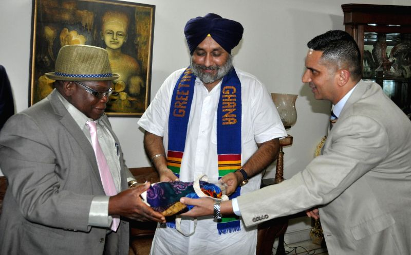 Punjab deputy chief minister Sukhbir Singh  during a meeting with Energy and Petroleum Deputy Minister of Ghana Benjamin Dagadu in Chandigarh on July 31, 2014. - Sukhbir Singh
