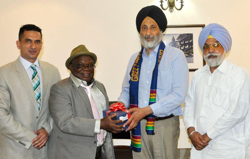 Punjab Food & Civil Supplies Minister Adaish Partap Singh Kairon with Benjamin Dagadu, Energy and Petroleum Deputy Minister, Republic of Ghana during a meeting at Punjab Bhawan in Chandigarh on .. - Adaish Partap Singh Kairon