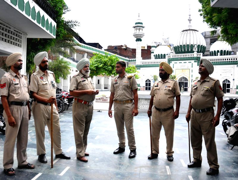 Punjab Police Officials secures a Mosque in Amritsar to secure the upcoming Eid Festival at Kherudin Jama Masjid and also as the ongoing demonstrations by Hindu Activists against Amarnath incident in