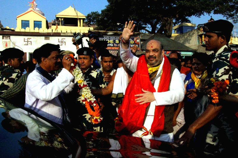 BJP chief Amit Shah visits the Jagannath Temple in Puri, Odisha on Jan 7, 2015.