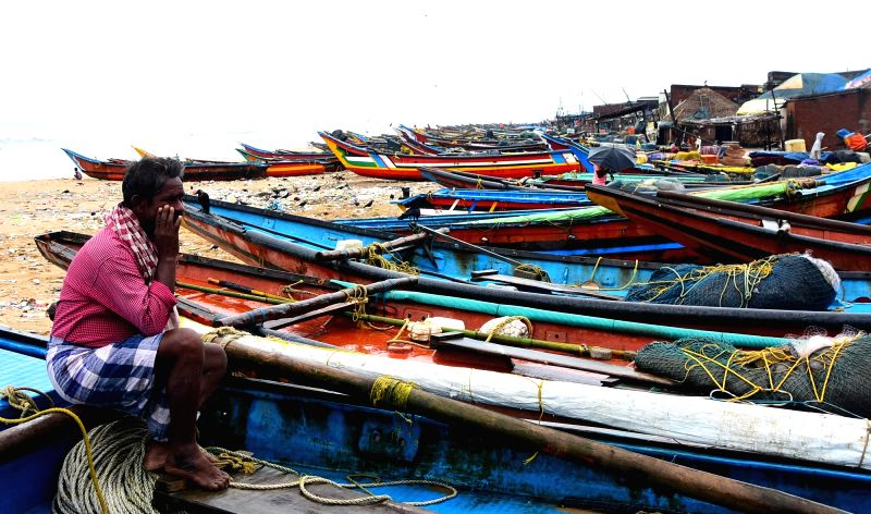 : Puri: Fishing boats anchored on Puri beach amidst cyclonic storm Titli alert on Oct 10, 2018. The Odisha government on Wednesday directed the Ganjam, Puri, Khurda, Jagatsinghpur and Kendrapara ...(Image Source: IANS)