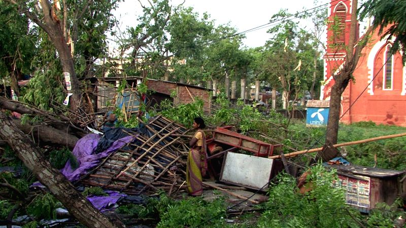 A view of destruction caused by a storm that lashed several districts of Bihar late on Tuesday night (22nd April 2015) in Purnia on April 23, 2015. At least 32 people have been killed and ...