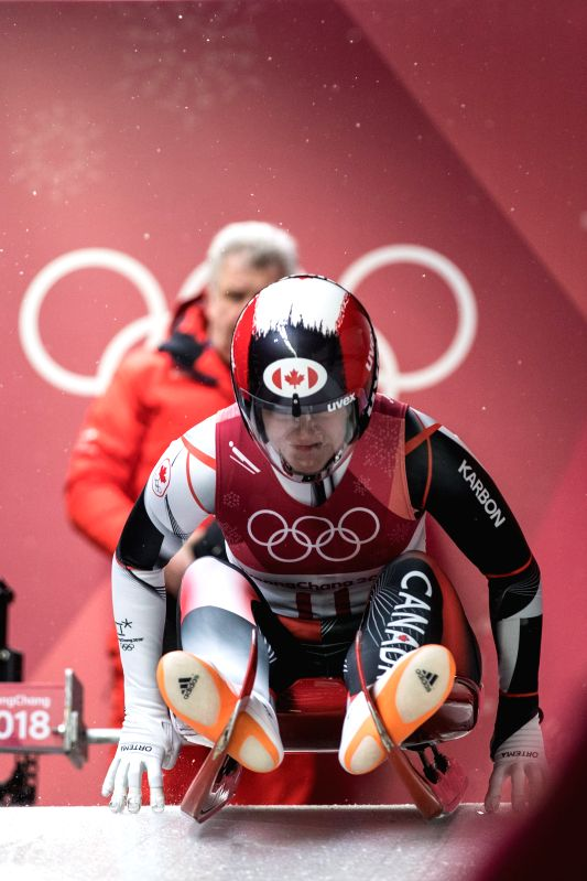 PYEONGCHANG, Feb. 13, 2018 - Alex Gough from Canada starts on women's singles event of luge at 2018 PyeongChang Winter Olympic Games at Olympic Sliding Centre, PyeongChang, South Korea, Feb. 13, ...