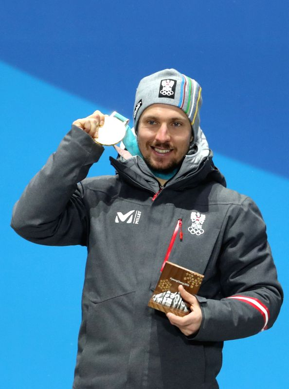 PYEONGCHANG, Feb. 13, 2018 - Gold medalist Marcel Hirscher of Austria poses for photos during the medal ceremony of men's alpine combined of alpine skiing at 2018 PyeongChang Winter Olympic Games at ...