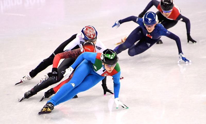 PYEONGCHANG, Feb. 13, 2018 - Italy's Arianna Fontana (front) competes during ladies' 500m final of short track speed skating at the Pyeongchang 2018 Winter Olympic Games at Gangneung Ice Arena, ...