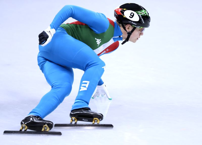 PYEONGCHANG, Feb. 13, 2018 - Italy's Arianna Fontana competes during ladies' 500m final of short track speed skating at the Pyeongchang 2018 Winter Olympic Games at Gangneung Ice Arena, Gangneung, ...