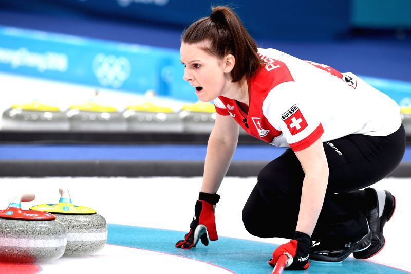 PYEONGCHANG, Feb. 13, 2018 - Jenny Perret of Switzerland competes during mixed doubles gold medal game of curling between Canada and Switzerland at the Pyeongchang 2018 Winter Olympic Games at ...