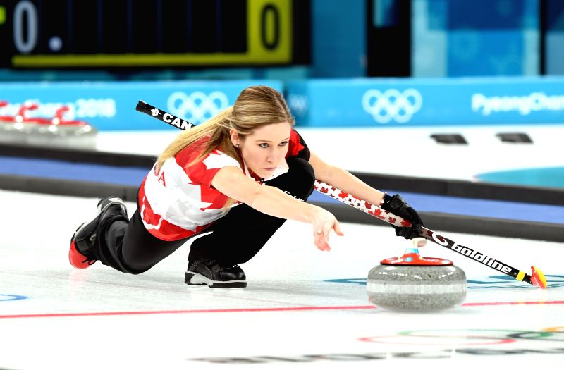 PYEONGCHANG, Feb. 13, 2018 - Kaitlyn Lawes of Canada competes during the mixed doubles gold medal game of curling between Canada and Switzerland at the Pyeongchang 2018 Winter Olympic Games at ...