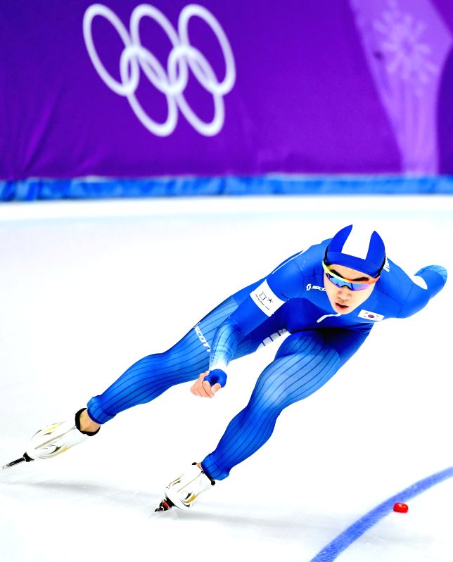 PYEONGCHANG, Feb. 13, 2018 - Kim Min Seok from South Korea competes during mens' 1500m event of speed skating at 2018 PyeongChang Winter Olympic Games at Gangneung Oval, Feb. 13, 2018. Kim Min Seok ...