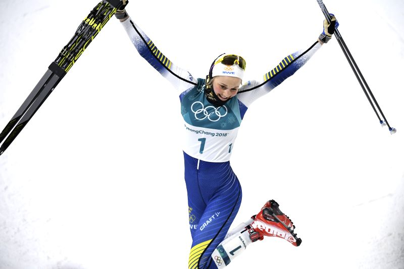 PYEONGCHANG, Feb. 13, 2018 - Stina Nilsson from Sweden celebrates after finishing ladie's sprint classic final of cross-country skiing at the Pyeongchang 2018 Winter Olympic Games at Alpensia ...