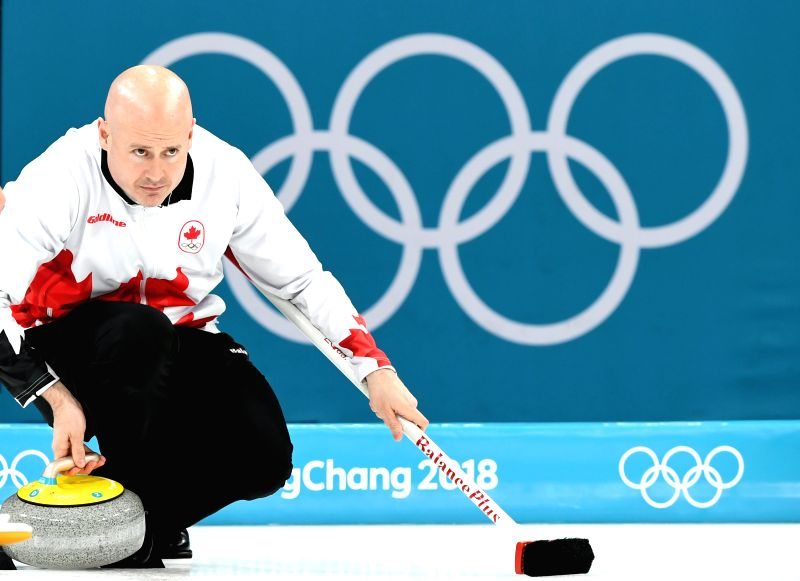 PYEONGCHANG Feb. 23 2018- Canada's Kevin Koe competes during bronze medal game of men's curling against Switzerland at 2018 Pyeong Chang Winter Olympic Games at Gangneung Curling Centre Gangneung