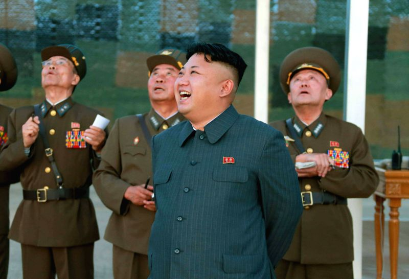 Photo provided by Korean Central News Agency(KCNA) on Aug. 28, 2014 shows top leader of the Democratic People's Republic of Korea Kim Jong Un guides the actual ...