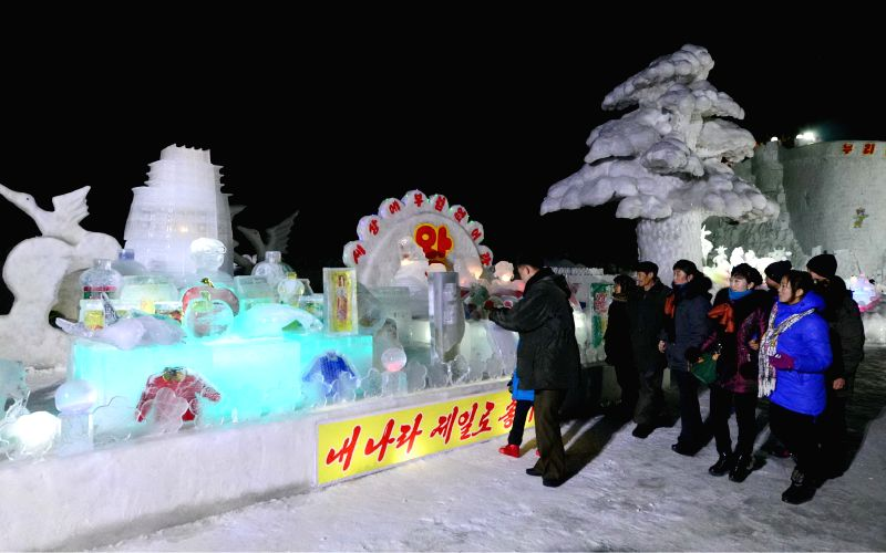 Photo provided by Korean Central News Agency (KCNA) on Feb.13, 2015 shows the ice sculpture festival celebrating the birth anniversary of late leader of the ...