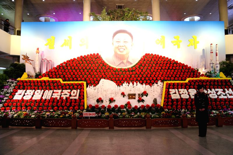 Photo taken on Feb. 13, 2015 shows the 19th Kimjongilia exhibition in Pyongyang, the Democratic People's Republic of Korea (DPRK). Kimjongilia flowers, named ...