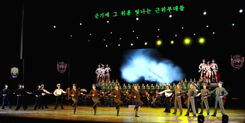 Photo provided by Korean Central News Agency (KCNA) on Feb. 9, 2015 shows the Korean People's Army (KPA) Song and Dance Ensemble giving a performance at the April .