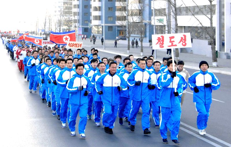 Photo provided by Korean Central News Agency (KCNA) on Jan. 12, 2015 shows cadres of the Ministry of Railways of the Democratic People's Republic of Korea (DPRK) ..