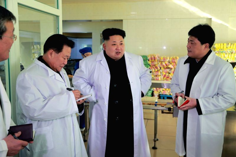 Photo provided by Korean Central News Agency (KCNA) on Jan. 18, 2015 shows top leader of the Democratic People's Republic of Korea (DPRK) Kim Jong Un inspecting ..