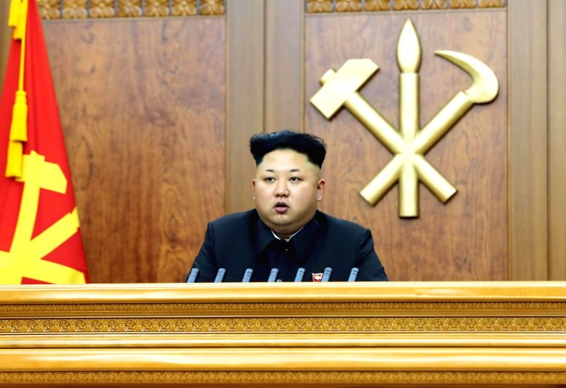Photo provided by Korean Central News Agency (KCNA) on Jan. 1, 2015 shows top leader of the Democratic People's Republic of Korea (DPRK) Kim Jong Un calling on ...